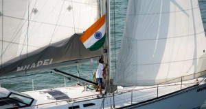 Abhilash Tomy raises the Indian flag on Mhadei