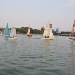 Boats sailing in Hussain Sagar lake