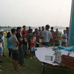 Kids learning to sail at Hussain Sagar lake